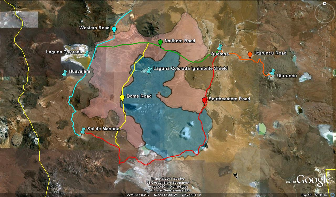 Map of Laguna Colorada ignimbrite shield and surrounding areas