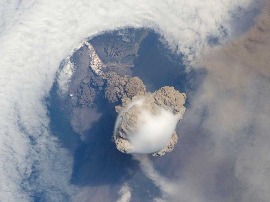 Sarychev volcano eruption from space