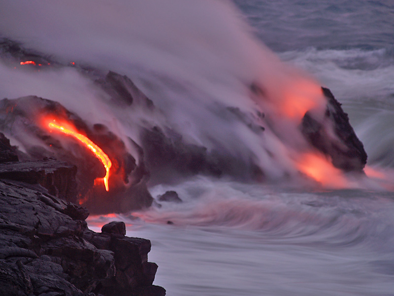 Lava Enters the Sea in Hawaii