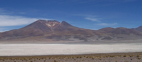 Aucanquilcha Volcanic Cluster with Salar de Ascotan in the foreground