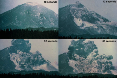 Successive images of the Mt St Helens 1980 sector collapse. Courtesy of USGS.