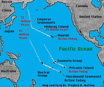 Hotspot volcanoes hawaii and yellowstone lesson 9 volcano world what do you notice about the lines of island groups in the pacific ocean gumiabroncs Images